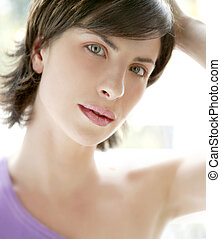 Beautiful model woman portrait with back light
