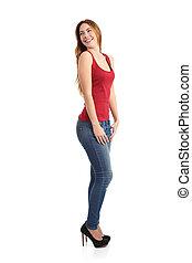 Beautiful model woman posing funny standing