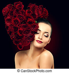 Beautiful model woman rose flower in hair heart shape beauty...