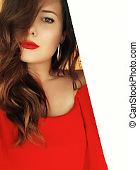 Beautiful model woman wearing red dress and bright lipstick, brunette with long hairstyle and classy makeup, luxury fashion and beauty brand