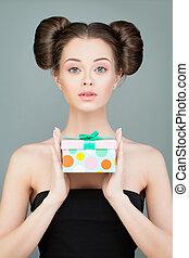 Beautiful Model Woman with Gift Box