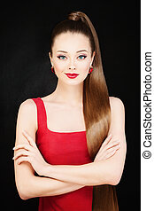 Beautiful Model Woman with Long Hair and Evening Makeup. Ponytail Hairstyle and Red Lips