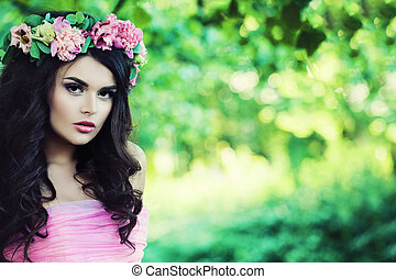 Beautiful Model Woman with Peony Flowers Wreath Outdoors