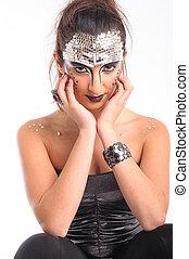 beautiful modelo with strange makeup