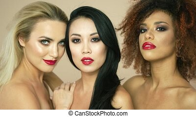 Beautiful models with red lips - Studio portrait of charming...