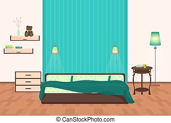 Beautiful modern Bedroom interior. Vector cartoon illustration.