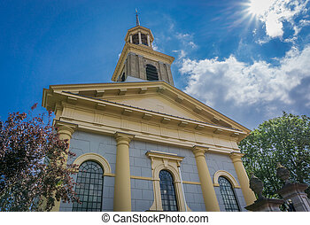 beautiful modern church architecture building front view on a sunny day
