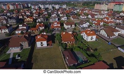 Beautiful modern city. Horizontal view of the roofs of European houses. European houses. Krasnodar, German village. Shot with Dji Phantom 4.
