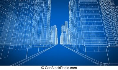 Beautiful Modern City Moving Through the Digital 3d Blueprint. Construction and Technology Concept. Blue Color 3d Animation Looped. 4k UHD 3840x2160.
