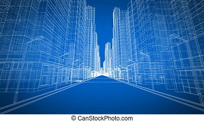 Beautiful Modern City Moving Through the Digital 3d Blueprint Road View. Construction and Technology Concept. Blue Color 3d Animation Looped. 4k Ultra HD 3840x2160. Long Version.