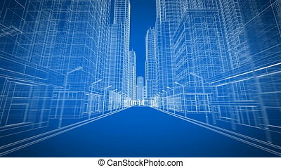 Beautiful Modern City Moving Through the Digital 3d Blueprint Road View. Construction and Technology Concept. Blue Color 3d Animation Looped. 4k UHD 3840x2160. Short Version.