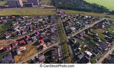 Beautiful modern city. Roofs of European houses. Private settlement. Krasnodar, German village. Shot with Dji Phantom 4.