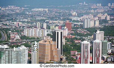 Beautiful, Modern Cityscape with Highrise Buildings and...
