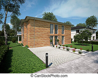 beautiful modern house. 3d rendering