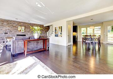 Beautiful modern large bright living room.