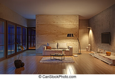 living room - beautiful modern living room interior...