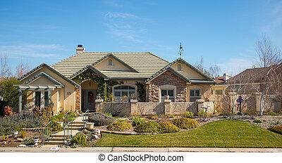 beautiful modern suburban house