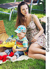 Beautiful mom with cute son