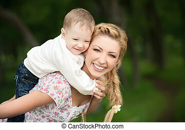 Beautiful mom with her son