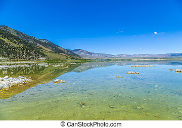 beautiful Mono Lake in California near Lee Vining in little planet perspective
