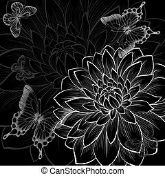 beautiful monochrome black and white background with dahlias and butterflies