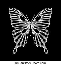 beautiful monochrome black and white butterfly. design for...