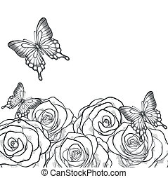 Beautiful monochrome black and white card with flowers roses and butterflies