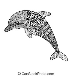 beautiful monochrome black and white dolphin with decorative...