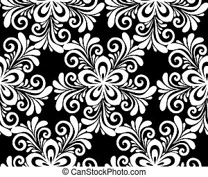 beautiful monochrome black and white floral seamless pattern.