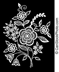 beautiful monochrome black and white flowers and leaves isolated.