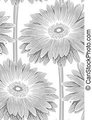 Beautiful monochrome, black and white seamless background with gerbera flower with a stem.