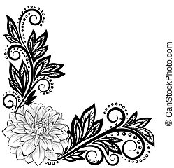 monochrome black and white lace flower in the corner. With space for your text and greetings