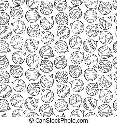 Beautiful monochrome, black and white Pattern Christmas Balls.