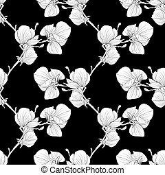 Beautiful monochrome, black and white seamless background with blooming magnolia tree branches.