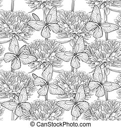 black and white seamless background with flowers aster and butterflies