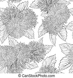 Beautiful monochrome, black and white seamless background with flowers aster.
