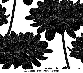 Beautiful monochrome, black and white seamless background with flowers dahlia with a stem.