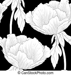 Beautiful monochrome, black and white seamless background with flowers Plant Paeonia arborea (Tree peony) with stem and leaves.