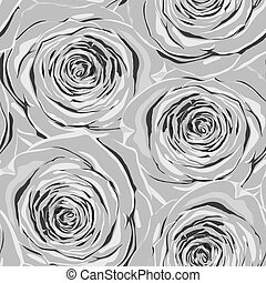 Beautiful monochrome, black and white seamless background with gray roses.