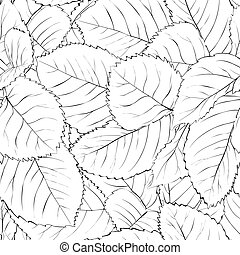 black and white seamless background with leaves