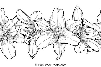 Beautiful monochrome, black and white seamless horizontal frame element of gray lily  flowers.