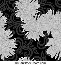 black and white seamless pattern with aster flowers and abstract floral swirls