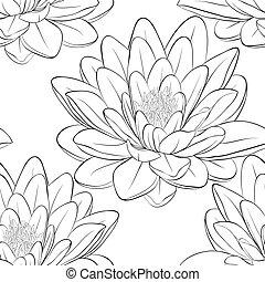 Beautiful monochrome, black and white seamless pattern with...