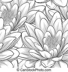 black and white seamless pattern with lotus flowers. -...