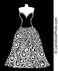 beautiful monochrome black and white Silhouette of dress with a floral element.