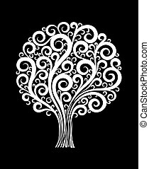 beautiful monochrome black and white tree in a flower design with swirls and flourishes isolated.