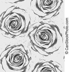 Beautiful monochrome, black and white vertical seamless background with gray roses, sprays, drops.