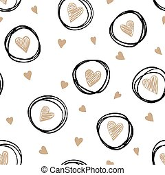 beautiful monochrome gold, black and white seamless pattern with doodling sketch heart.