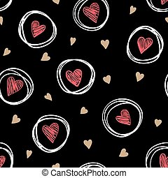beautiful monochrome gold, red, black and white seamless pattern with doodling sketch heart.
