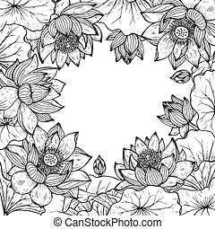 Beautiful monochrome vector floral frame with lotus